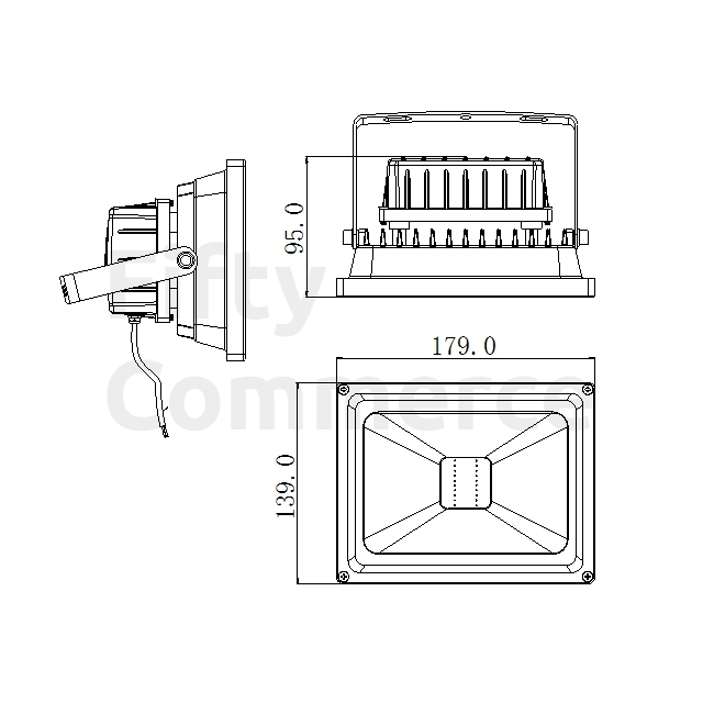 Led bouwlamp 20 Watt koud wit zwarte behuizing
