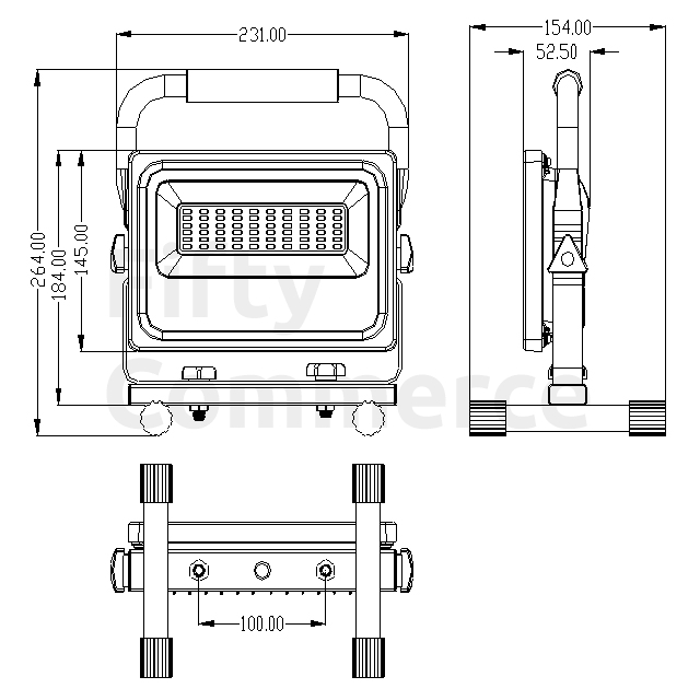 Led bouwlamp met grondstatief 30W