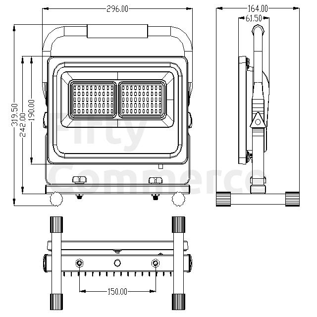 Led bouwlamp met grondstatief 50W