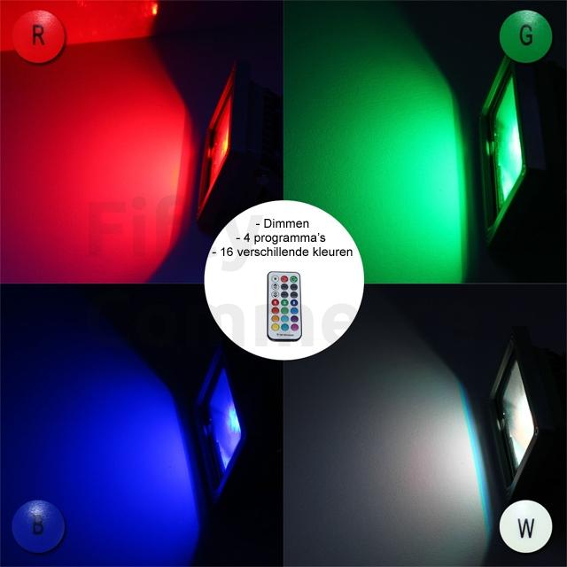 Led bouwlamp 20 Watt RGB zwart